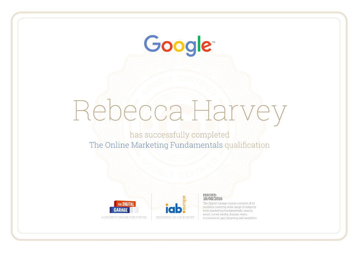 Google Certification Rebecca Harvey 2016