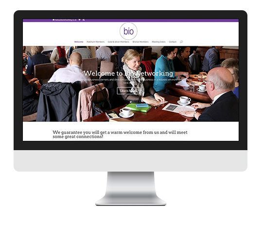 Bio website case study iMac screen