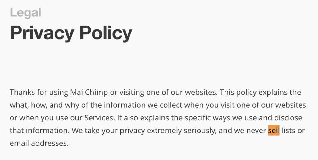 MailChimp wont sell Data 2017