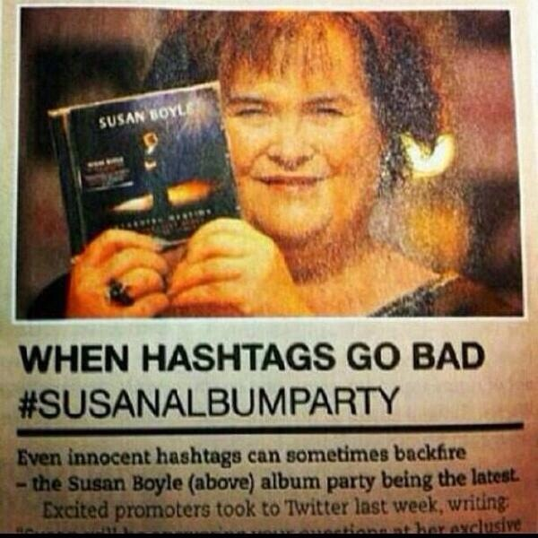 susan album party hashtag fail